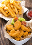 Chicken Nuggets (with Chips) Stock Photos