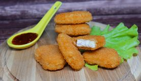 Chicken nuggets. Delicious food , hot chicken nuggets with sauce Stock Photo