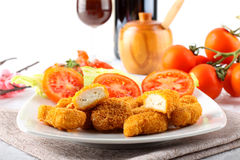 Chicken nuggets on dish Royalty Free Stock Photos