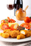 Chicken nuggets on dish Stock Photos
