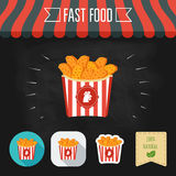 Chicken nuggets icon on a chalkboard. Set of icons and eco label. Flat design. Vector Royalty Free Stock Images