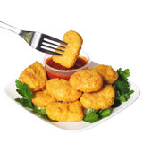 Chicken nuggets with ketchup isolated Stock Images