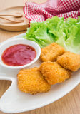 Chicken nuggets with ketchup on plate Royalty Free Stock Photo