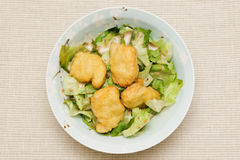 Chicken Nuggets with Lettuce Salad Royalty Free Stock Photography