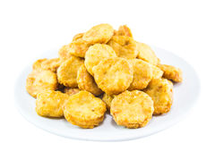 Chicken nuggets. A lot of crispy chicken nuggets Royalty Free Stock Photography
