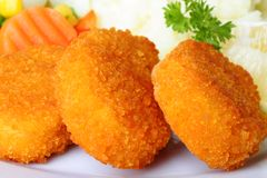 Chicken Nuggets. With mashed potatoes and vegetables stock photo