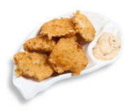 Chicken nuggets with sauce on the plate Royalty Free Stock Images