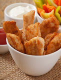 Chicken nuggets with sauce and vegetables Stock Photo