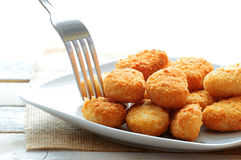 Chicken nuggets served in a white bowl Royalty Free Stock Photos