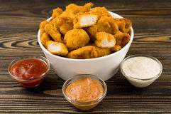 Chicken nuggets. On the table royalty free stock photos
