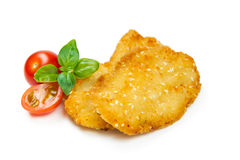 Chicken nuggets with tomato and basil Royalty Free Stock Photos