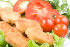 Chicken nuggets with vegetables Royalty Free Stock Photography