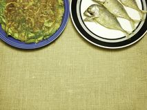 Chicken omelet with local herb and thai mackerel fried on plate. Chicken omelet with local herb Royalty Free Stock Photos