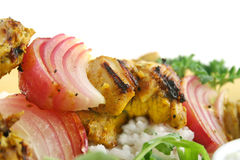 Chicken And Onion Tandoori Skewers Royalty Free Stock Photos