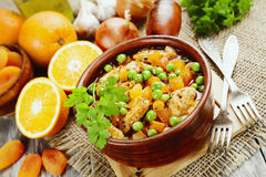 Chicken with oranges royalty free stock photos