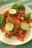 Chicken and organic tomato salad Royalty Free Stock Image