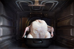 Chicken in oven Royalty Free Stock Photography