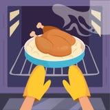 Chicken in oven. Vector. Chicken in the oven. Hands in kitchen gloves. Vector. Cartoon. Flat Stock Images