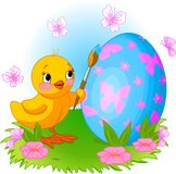 Chicken Painting Easter Egg. Illustration of an Easter Chicken painting an egg Royalty Free Stock Photos