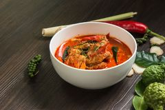 Chicken panang curry and ingredient spice on wooden background stock image