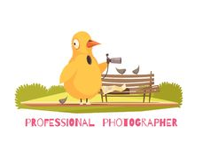 Chicken Paparazzi Costume Composition. Paparazzi composition with view of public open space park with bench and photographer in chicken morphsuit vector Stock Photo