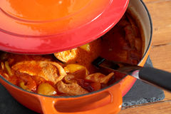 Chicken paprika casserole in a ceramic dish Stock Photography