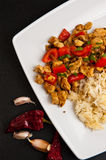 Chicken with paprika rice and curry dish Royalty Free Stock Images