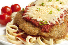 Chicken Parmesan. Or parmigiana, with melting mozzarella and parmesan cheeses, over fettucine ribbon pasta stock photography