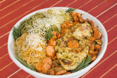 Chicken Parmesan with Carrots and Pasta. Homemade chicken parmesan with sliced carrots and tri colored pasta. Garnished with sprigs of the herb rosemary. The Royalty Free Stock Image