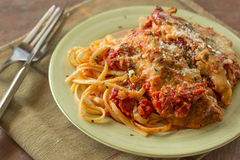 Chicken Parmesan with Linguine royalty free stock image