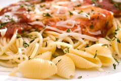Chicken parmesan and noodles Stock Photo