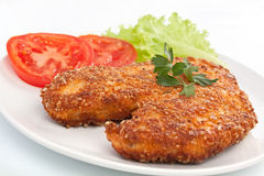 Chicken Parmesan with Side Salad. Crispy Cooked Chicken Parmesan with Side Salad of Tomatoes and Lettuce Stock Photography