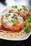 Chicken parmesan with spaghetti pasta. Parmesan chicken with melted cheese and tomato sauce served over spaghetti pasta Stock Image