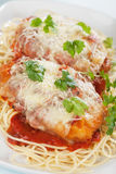 Chicken parmesan with spaghetti pasta. Chicken parmesan with melted cheese and tomato sauce served over spaghetti pasta Stock Image