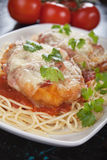 Chicken parmesan with spaghetti pasta. Parmesan chicken with melted cheese an tomato sauce served over spaghetti pasta Stock Images
