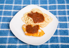 Chicken Parmesan on White Square Plate Stock Image
