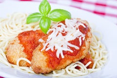Chicken parmigiana. On a white plate with spaghetti Stock Photos