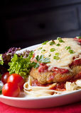 Chicken Parmigiana. Chicken parmesan or parmigiana, with melting mozzarella and parmesan cheeses, over fettucine ribbon pasta royalty free stock photography