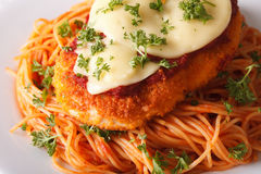 Chicken parmigiana and spaghetti close-up on a plate. horizontal. Chicken parmigiana and spaghetti close-up on a white plate. horizontal Stock Photos
