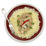 Chicken pasanda curry from above Stock Photos