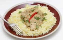 Chicken pasanda on saffron rice side view Stock Image