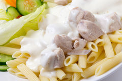 Chicken and pasta closeup Royalty Free Stock Image