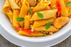 Chicken Pasta Fajita. Hrizontal close-up image Royalty Free Stock Photography