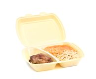 Chicken with pasta in food container Royalty Free Stock Photography