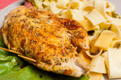 Chicken and pasta pappardelle Stock Image