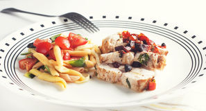 Chicken and pasta Royalty Free Stock Image