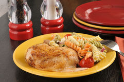 Chicken with pasta salad Royalty Free Stock Photography