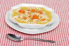 Chicken pasta soup Royalty Free Stock Image