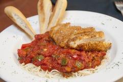 Chicken pasta with vegetable marinara Stock Image