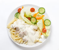 Chicken and pasta with white sauce Stock Photography